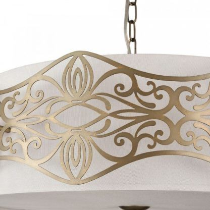 biała lampa wisząca ze złotymi zdobieniami, klasyczna, modern classic