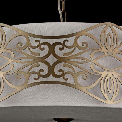 biała lampa wisząca, modern classic, ozdobiona złotymi detalami
