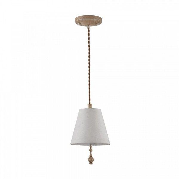 lampa wisząca z jasnym, białym abażurem i drewnianymi detalami, rustykalna