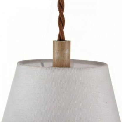 rustykalna lampa wisząca z białym abażurem
