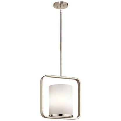 srebrna lampa wisząca ze szklanym kloszem mlecznym