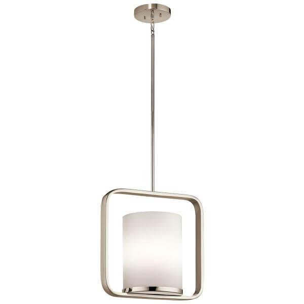 oryginalna lampa wisząca mleczny klosz w srebrnej ramie