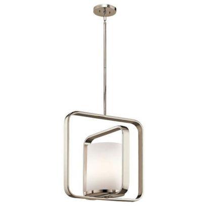 metalowa, srebrna lampa wisząca ze szklanym kloszem