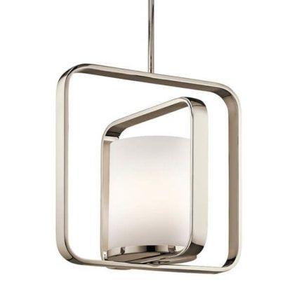 lampa wisząca z mlecznym kloszem i podwójną, srebrną ramą