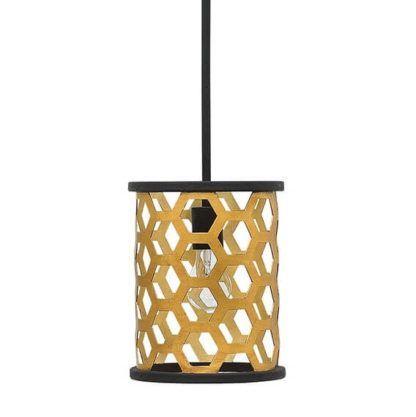 metalowa lampa wisząca, plaster miodu