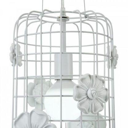 oryginalna lampa wisząca, klatka, biała, kwiaty