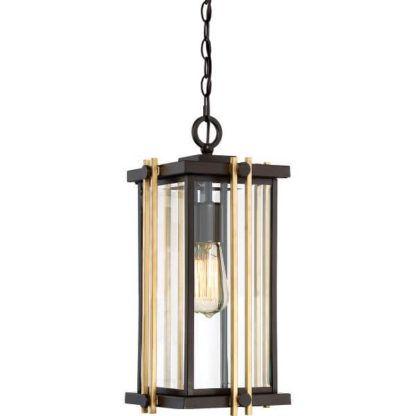 klasyczna, prostokątna lampa wisząca z metalowej ramie w brązowych odcieniach