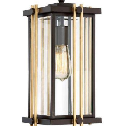 lampa wisząca ze szklanym kloszem w brązowo-złotej ramie