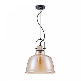 Szklana lampa wisząca Irving - indstrialna, beżowy klosz