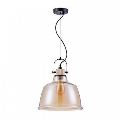 industrialna lampa wisząca z kloszem z barwionego szkła