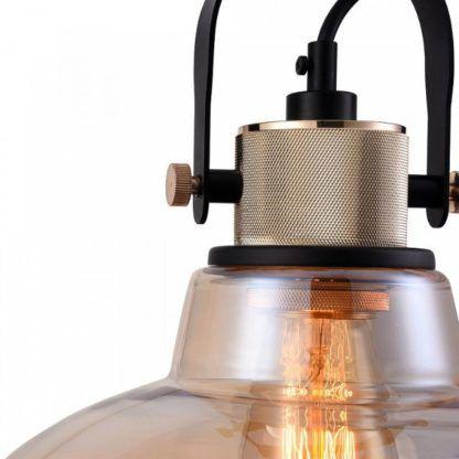 lampa wisząca przemysłowy design, beżowe szkło, transparentna