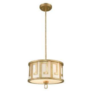 Okrągła lampa wisząca z abażurem - klasyczne zdobienia - Lemuria M - złoty wzór