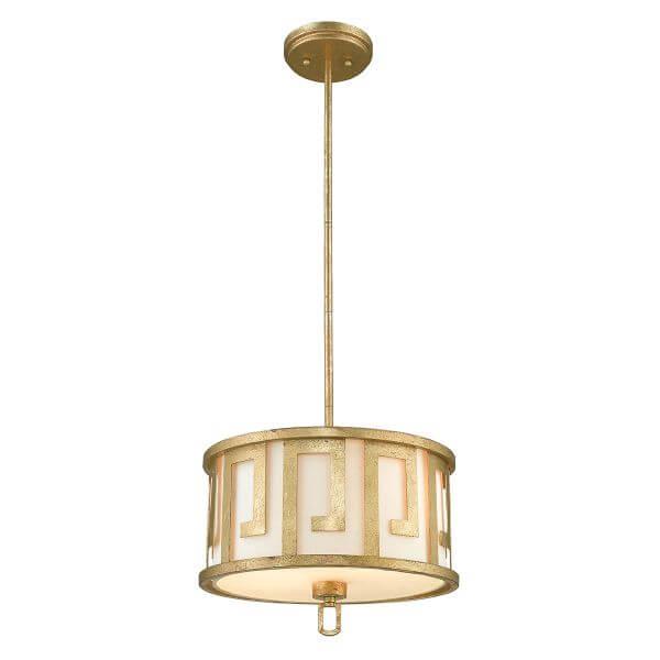 lampa wisząca ze złotym, metalowym wzorem w stylu greckim