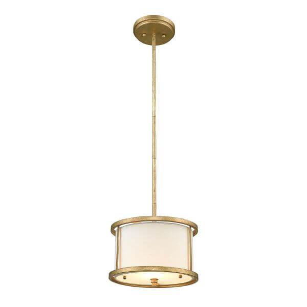 szklana, okrągła lampa wisząca, nieduża, w złotej ramce