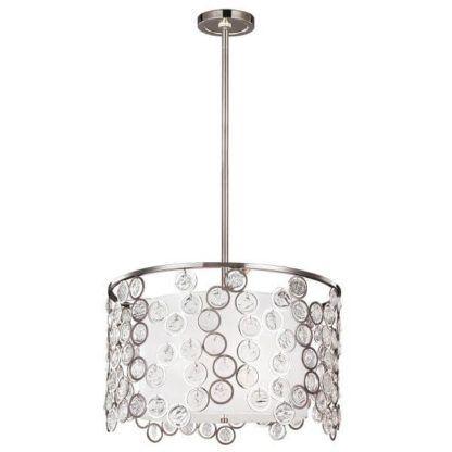 okrągła lampa wisząca z mlecznym kloszem ozdobiona okrągłymi kryształkami, styl nowoczesny glmour
