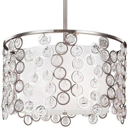 srebrna lampa wisząca ozdobiona okręgami z małymi kryształkami