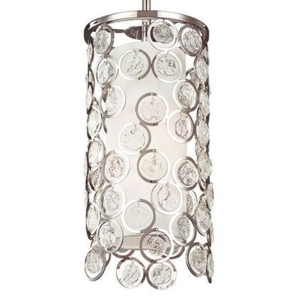 nieduża, okrągła lampa wisząca ozdobiona kryształkami, srebrna, glamour, nowoczesna