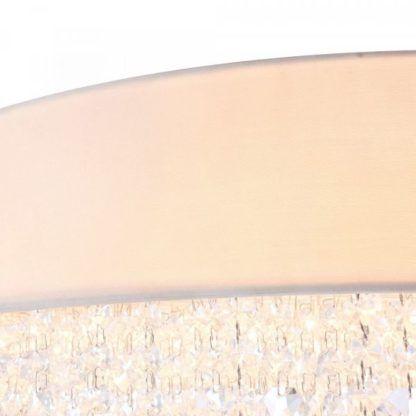 biała lampa z abażurem i z kryształkami