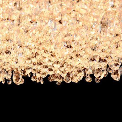 lampa wisząca z wiszącymi łańcuszkami kryształów, biała