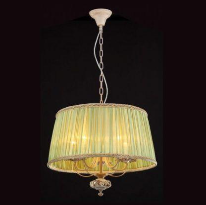 kremowa lampa wisząca, klasyczne detale, zielony abażur