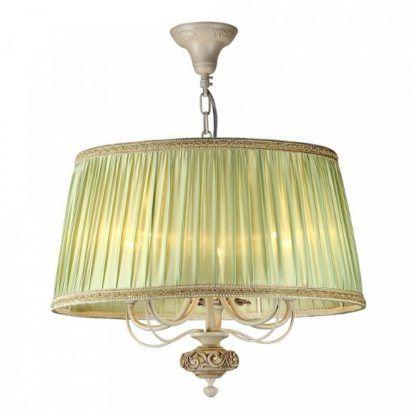 klasyczna lampa wisząca z zielonym abażurem