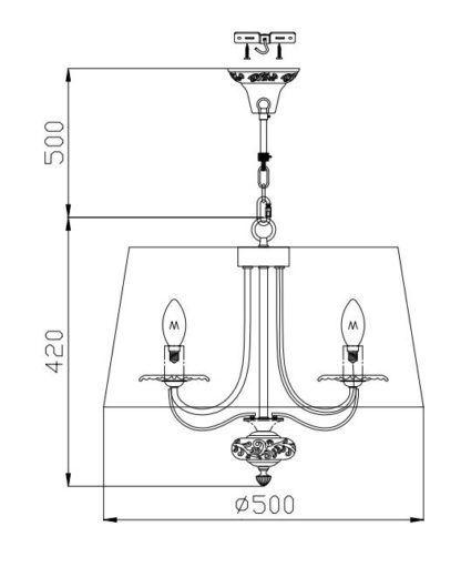 okrągła lampa wisząca z abażurem