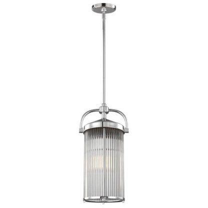 nieduża, industrialna lampa wisząca szklana, srebrna