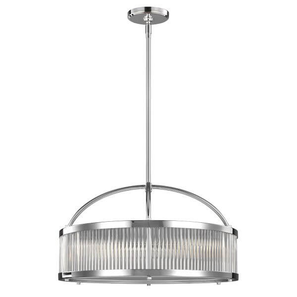 duża lampa wisząca w stylu industrialnym, nowoczesnym, srebrna ze szklanym kloszem