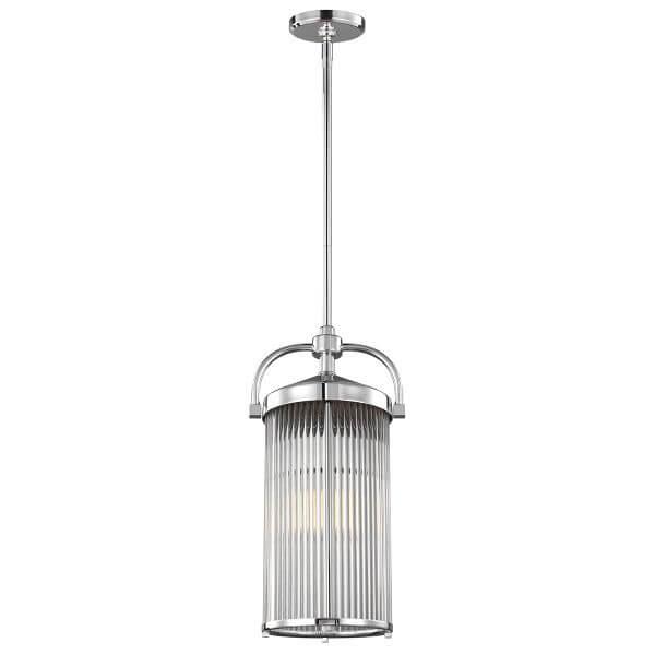industrialna lampa wisząca, nieduża, okrągła ze szklanym kloszem w prążki, srbrna