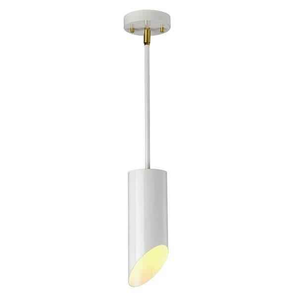 biała lampa wisząca z prostym kloszem