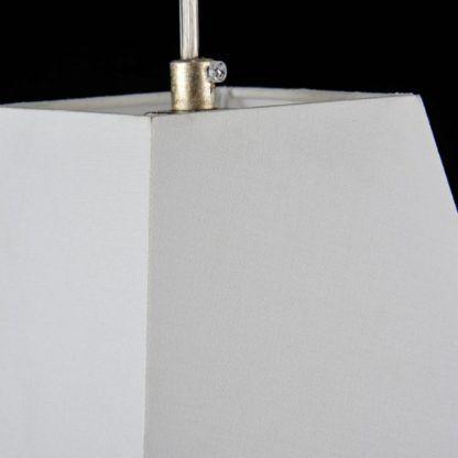 klasyczna lampa wisząca z białym abażurem