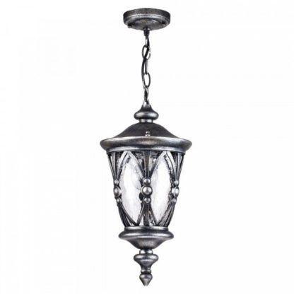 klasyczna lampa wisząca, postarzane srebro, szklany klosz, lampa zewnętrzna