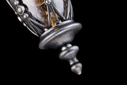 metalowa, szklana lampa wisząca, klasyczna