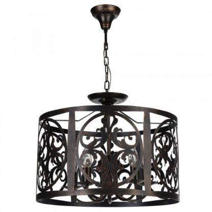 brązowa, okrągła lampa wisząca, ażurowy wzór z metalu