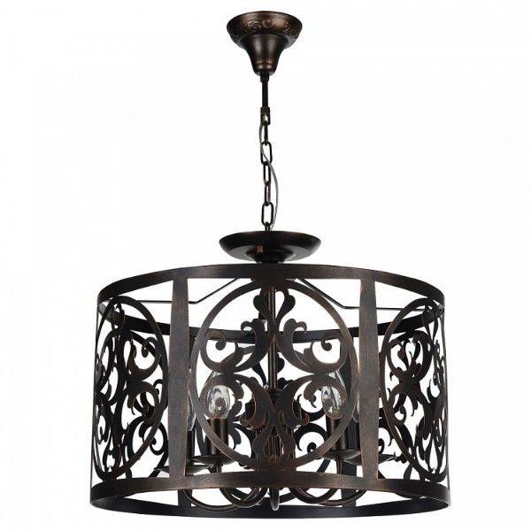 ciemnobrązowa lampa wisząca z metalu, ażurowa
