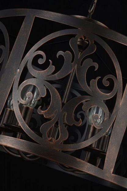 brązowa lampa wisząca, metalowy wzór ażurowy