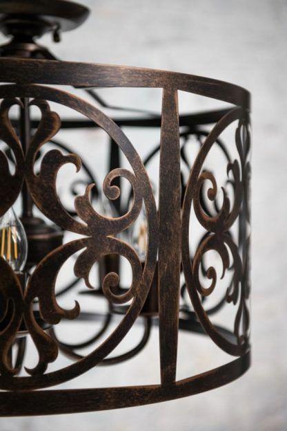 okrągła lampa wisząca z metalu, rustykalny wzór
