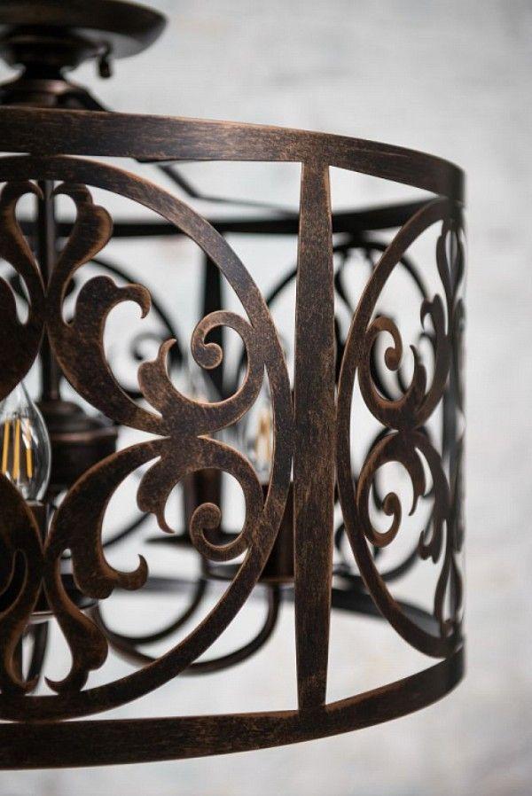 Duża lampa wisząca Rustika – metalowa, brązowa