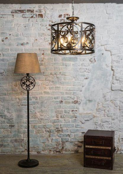 brązowe, metalowe lampy w stylu rustykalnym - aranżacja