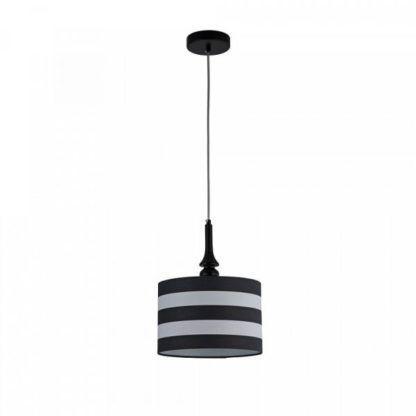 lampa wisząca biało-czarna z abażurem