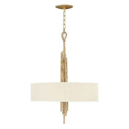 złota lampa wisząca z beżowym abażurem