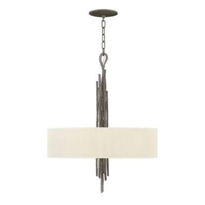 stylowa lampa wisząca z jasnym abażurem i metalową bazą w stylu klasycznym