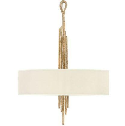 dekoracyjna lampa wisząca, beżowy abażur, złota