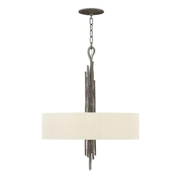 masywna lampa wisząca z beżowym abażurem i dekoracyjnym zawiesiem z metalowych prętów