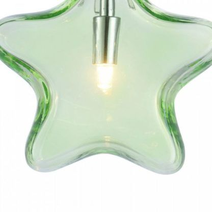 lampa wisząca, szklana, zielona gwiazdka, nieduży klosz