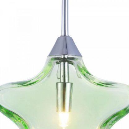 lampa wisząca ze szkła barwionego na zielono, delikatne światło