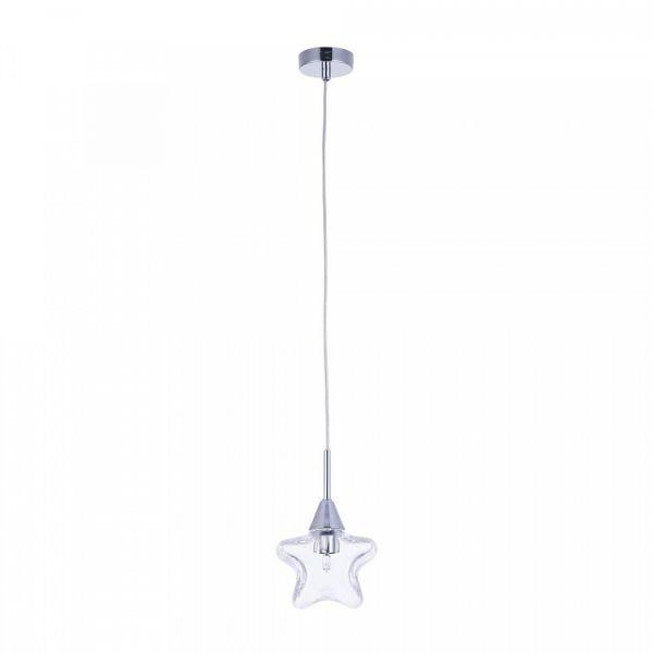 nieduża, przezroczysta lampa wisząca do pokoju dziecięcego, gwiazdka