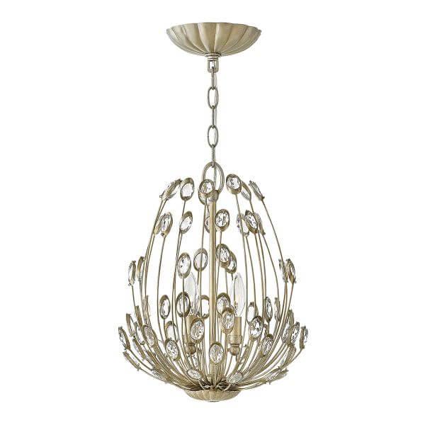 oryginalna lampa wisząca w stylu glamour, szampańskie złoto, kryształy