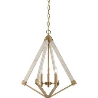Rustykalna lampa wisząca View - biało-złota, ażurowa