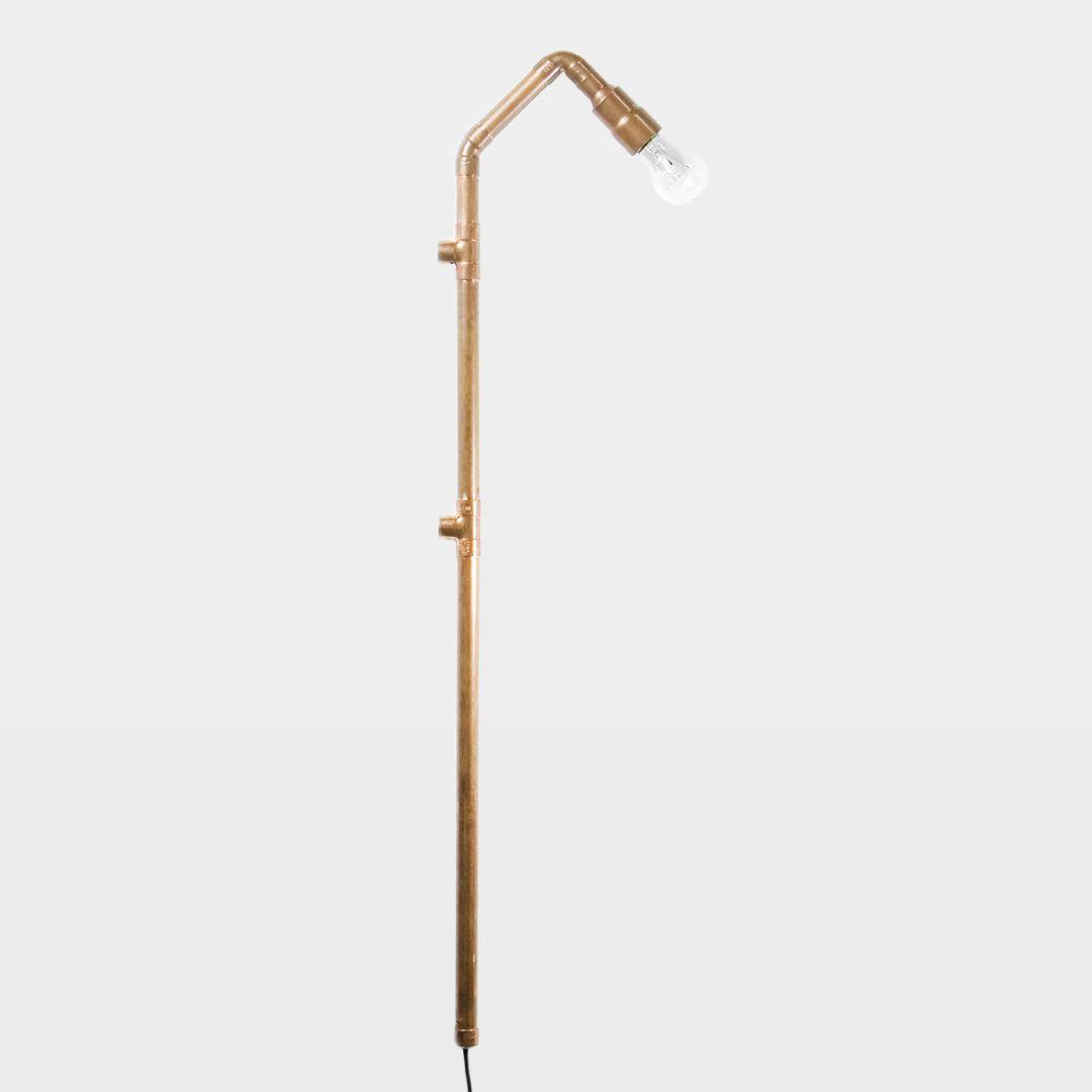 miedziana lampa ścienna, kinkiet industrialny